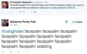 "GOOGLE Chairman Claims Incognito Thwarts Surveillance, Engineer ""Facepalms"""